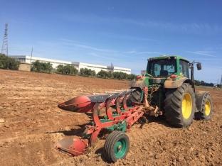 Labores de preparación del terreno y siembra del sorgo en la parcela de la Cooperativa